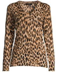 Lord + Taylor Petite Leopard V-neck Wool Jumper - Brown