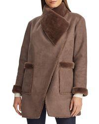 Lauren by Ralph Lauren Faux Shearling-trim Coat - Brown