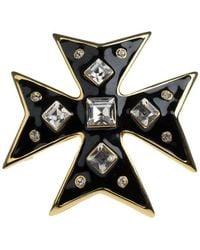Kenneth Jay Lane Crystal Cross Pin - Black