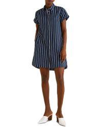 Mango Striped Short-sleeve Shirtdress - Blue