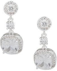 Anne Klein Linear Crystal Earrings - Metallic