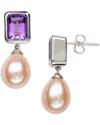 Lord & Taylor - Sterling Silver Pink Freshwater Pearl And Amethyst Earrings - Lyst