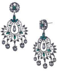 Marchesa Crystal & Faux Pearl Drama Chandelier Earrings - Metallic