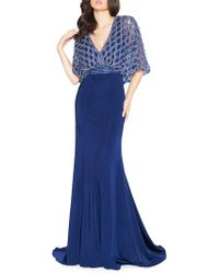 Mac Duggal - Embroidered Cape-bodice Gown - Lyst