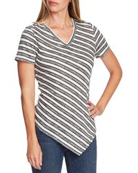 Two By Vince Camuto Highland Asymmetrical Striped Top - Gray