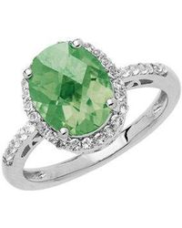 Lord + Taylor Sterling Silver Green Amethyst Ring With White Topaz Halo