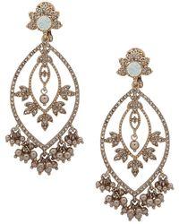 Marchesa - Gold-tone Crystal, Stone & Shaky Imitation Pearl Chandelier Earrings - Lyst