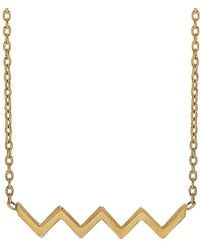 Lord + Taylor - 14k Yellow Gold Zigzag Bar Necklace - Lyst