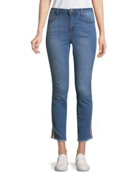 Romeo and Juliet Couture - Side Striped Cropped Jeans - Lyst