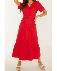 Quiz Cotton Buckle Detail Maxi Dress - Red