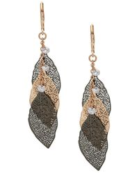 Lonna & Lilly - Two-tone Crystal Leaf Drop Earrings - Lyst