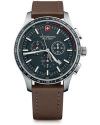 Victorinox Alliance Sport Leather Strap Watches - Brown
