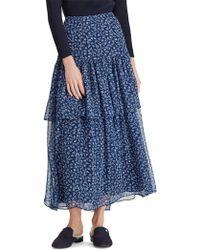 f7eba89a14 Lauren by Ralph Lauren - Print Georgette Tiered A-line Skirt - Lyst