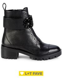 Karl Lagerfeld Pippa Embellished Strap Leather Boots - Black