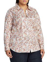 Lauren by Ralph Lauren - Plus Relaxed-fit Cotton Sateen Button-down Shirt - Lyst