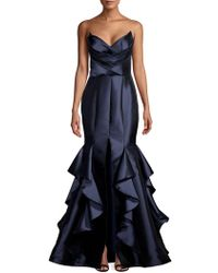 933028bfc4cf Nicole Bakti Geometric Sleeveless Mermaid Gown in Red - Lyst