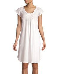 Miss Elaine Smocked Cotton Blend Nightgown - Pink