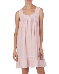 Eileen West Striped Ruffle Trimmed Nightgown - Pink