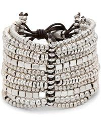 Uno De 50 Bead Layered Bracelet - Metallic