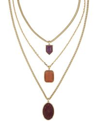 Laundry by Shelli Segal - Three Row Mother-of-pearl Pendant Necklace - Lyst