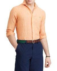 4135ed383bb ... sweden polo ralph lauren classic fit linen button down shirt lyst af851  4cf9e