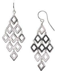 Lord + Taylor - Sterling Silver Diamond Link Drop Earrings - Lyst