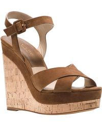afc610108630 Michael Kors - Cate Leather Platform Wedge Sandals - Lyst