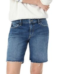 Joe's Jeans Anni Frayed Midi Shorts - Blue