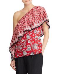 Lauren by Ralph Lauren - Overlay One-shoulder Top - Lyst