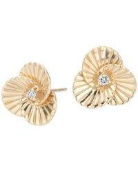 Adina Reyter 14k Yellow Gold & 0.04 Tcw Diamond Flower Stud Earrings - Metallic