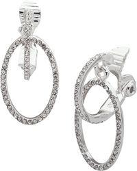 Lauren by Ralph Lauren - Silvertone & Crystal Hoop Drop Earrings - Lyst