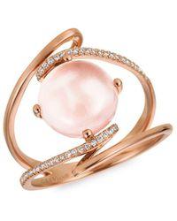 Le Vian - Rose Quartz And Vanilla Diamond 14k Strawberry Gold Ring - Lyst