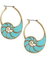 Lucky Brand - Turquoise Stone Shell Hoop Earrings - Lyst