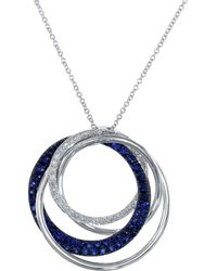 Effy - Royale Bleu 14k White Gold Interlocking Rings Necklace With Sapphire And Diamonds - Lyst