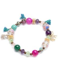 Lonna & Lilly - Turquoise And Agate Beaded Stretch Bracelet - Lyst
