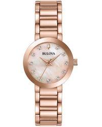 Bulova - Modern Stainless Steel And Diamond Bracelet Watch - Lyst