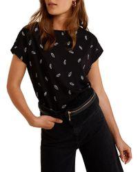 Mango - Printed Cotton T-shirt - Lyst