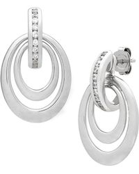 Lord & Taylor - Diamonds And Sterling Silver Drop Earrings - Lyst