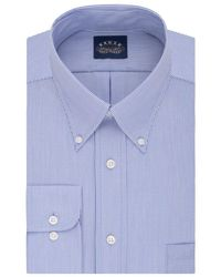 Eagle Men's Classic-fit Non-iron Blue Solid Dress Shirt