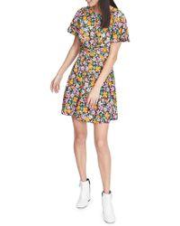 Miss Selfridge - Retro Floral Twist Dress - Lyst