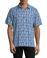 Tommy Bahama - Poquito Geo Print Silk Sport Shirt - Lyst
