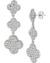 Morris & David - 14k White Gold & Diamond Pave Clover Drop Earrings - Lyst
