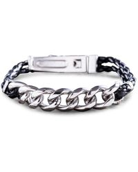 Lord + Taylor Men's Stainless Steel Woven Vegan Leather Curb Chain Bracelet - Metallic