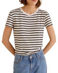 Mango - Striped Cotton T-shirt - Lyst