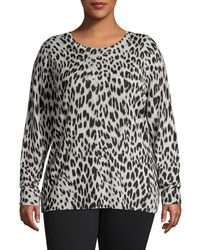 Lord + Taylor - Plus Leopard-print Crewneck Wool Sweater - Lyst