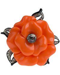 Kenneth Jay Lane Crystal Flower Pin - Orange