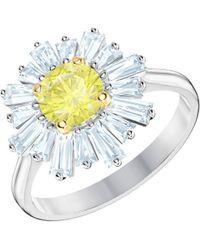 Swarovski - Sunshine Canary Yellow Crystal Statement Ring - Lyst