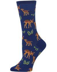 Hot Sox Mother Deer Crew Socks - Blue
