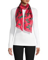Echo Holly-print Silk Scarf - Red