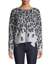 Premise Studio Leopard-print Pullover Top - Gray